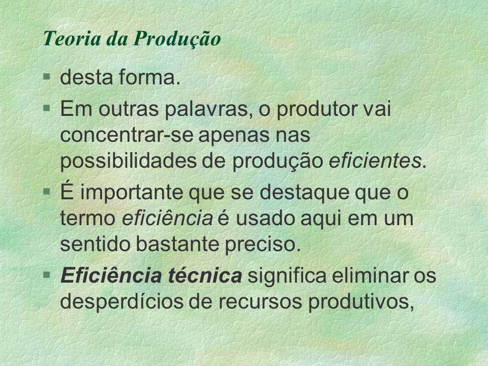 Teoria da Produção desta forma. Em outras palavras, o produtor vai concentrar-se apenas nas possibilidades de produção eficientes.