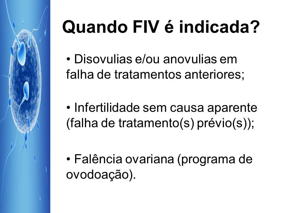 Quando FIV é indicada • Disovulias e/ou anovulias em falha de tratamentos anteriores;