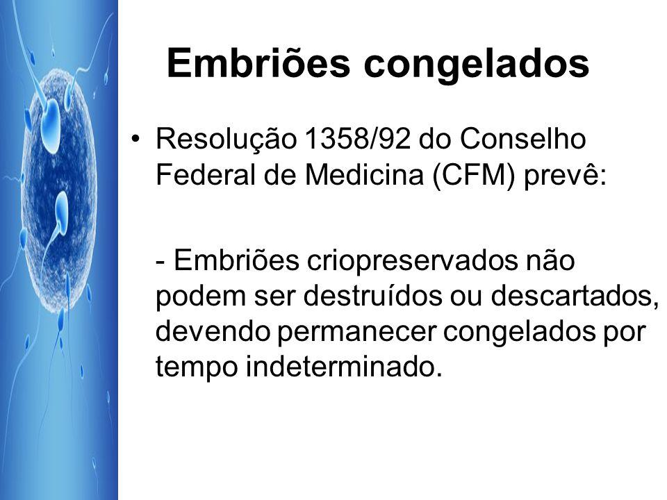 Embriões congelados Resolução 1358/92 do Conselho Federal de Medicina (CFM) prevê:
