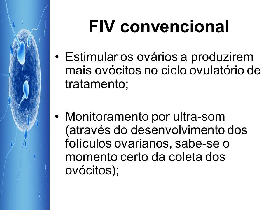 FIV convencional Estimular os ovários a produzirem mais ovócitos no ciclo ovulatório de tratamento;