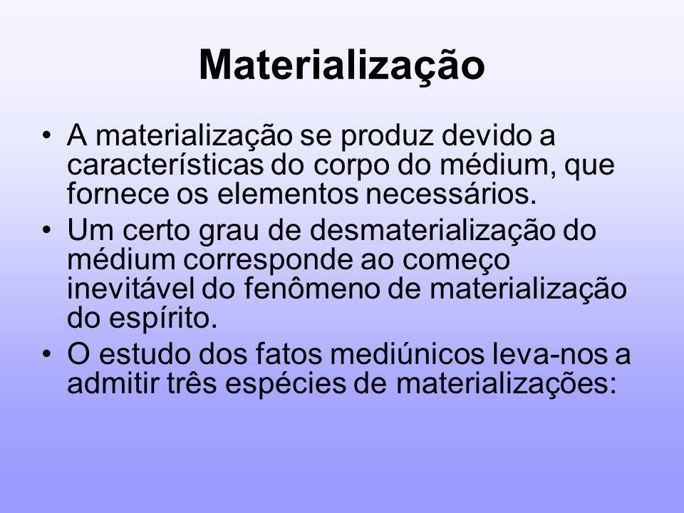 MaterializaçãoA materialização se produz devido a características do corpo do médium, que fornece os elementos necessários.