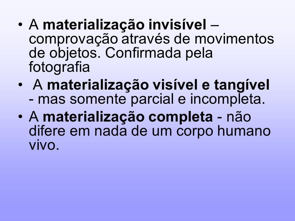A materialização invisível – comprovação através de movimentos de objetos. Confirmada pela fotografia