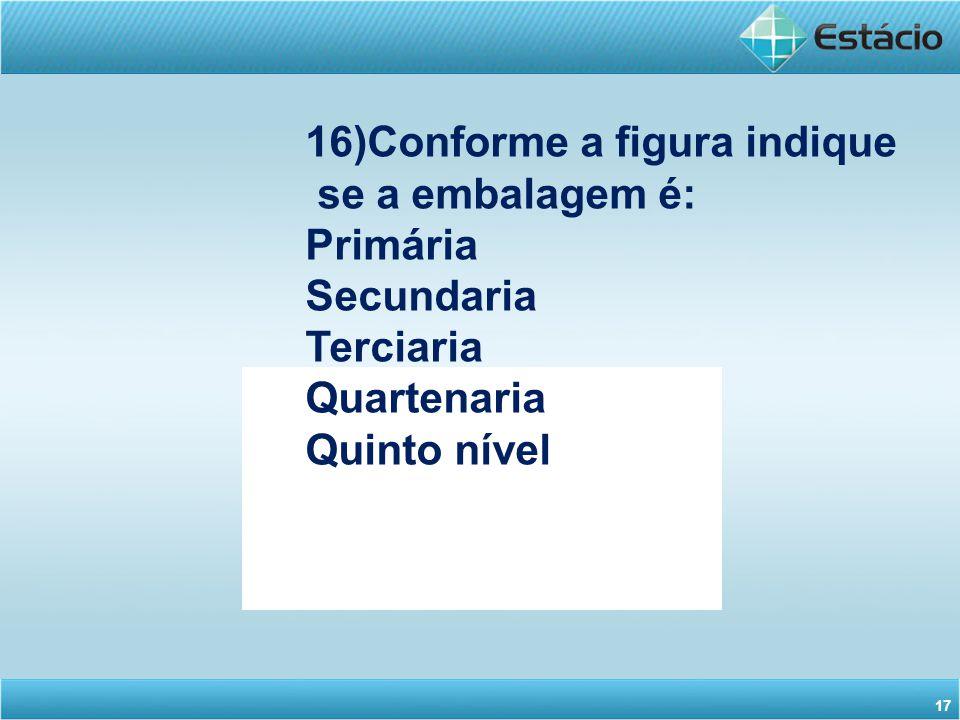 16)Conforme a figura indique se a embalagem é: Primária Secundaria