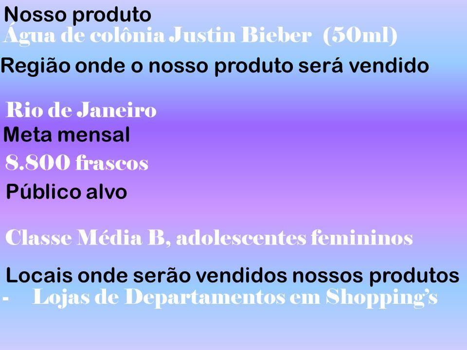 Nosso produto Água de colônia Justin Bieber (50ml) Região onde o nosso produto será vendido. Rio de Janeiro.