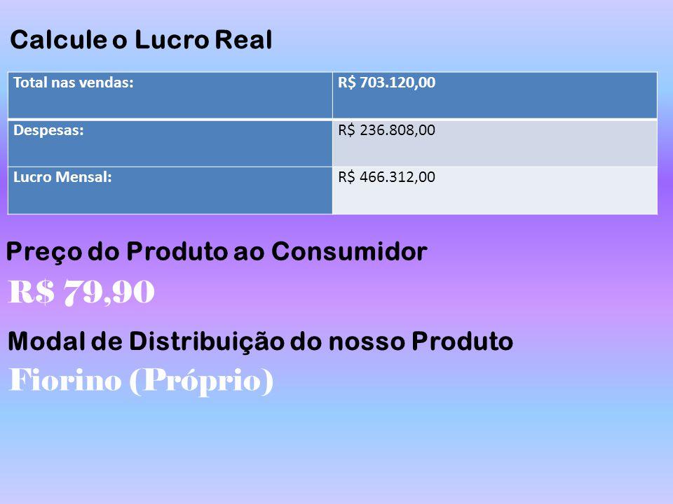 R$ 79,90 Fiorino (Próprio) Calcule o Lucro Real