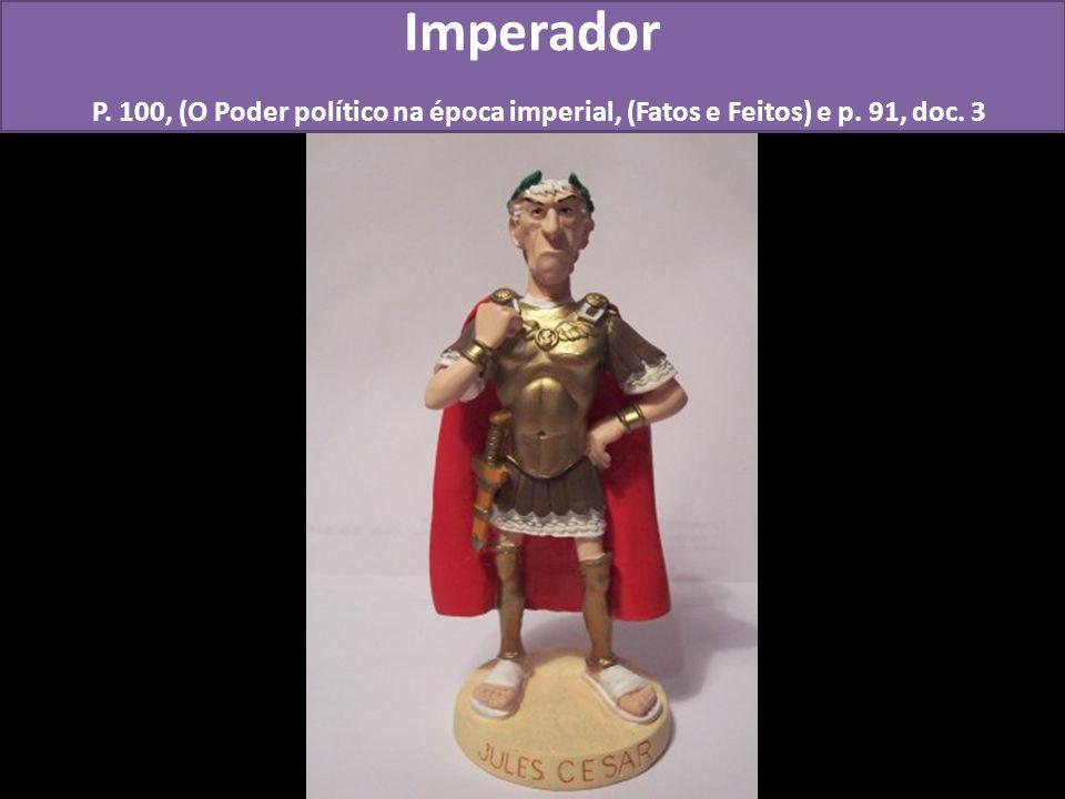Imperador P. 100, (O Poder político na época imperial, (Fatos e Feitos) e p. 91, doc. 3