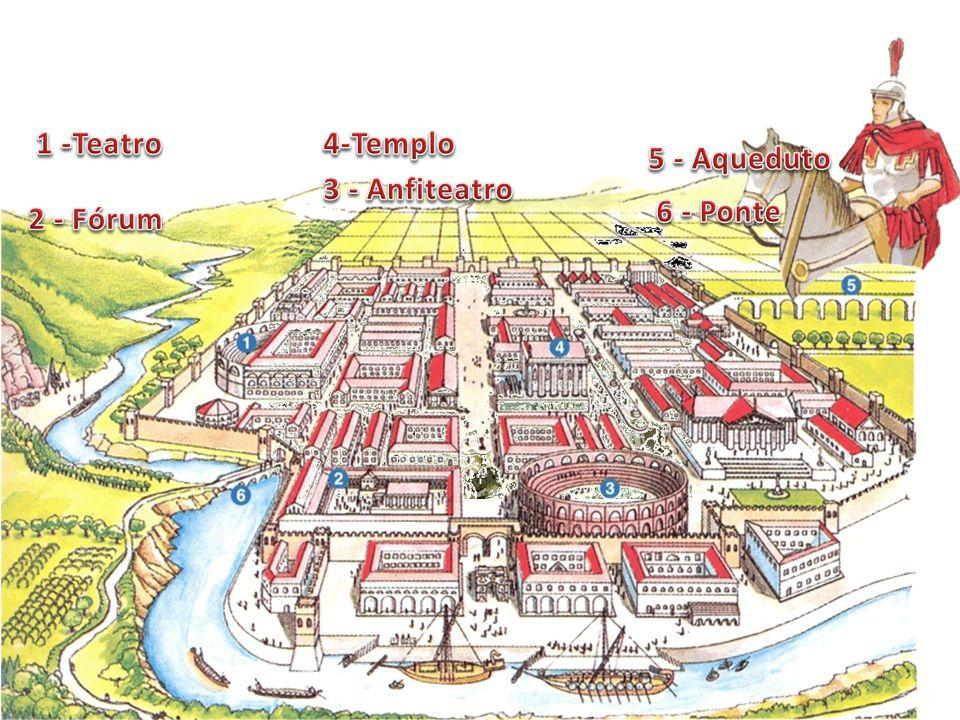 1 -Teatro 4-Templo 5 - Aqueduto 3 - Anfiteatro 6 - Ponte 2 - Fórum