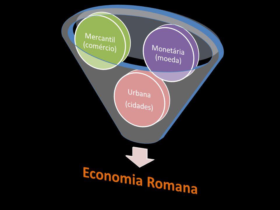 Economia Romana Mercantil (comércio) Monetária (moeda) Urbana
