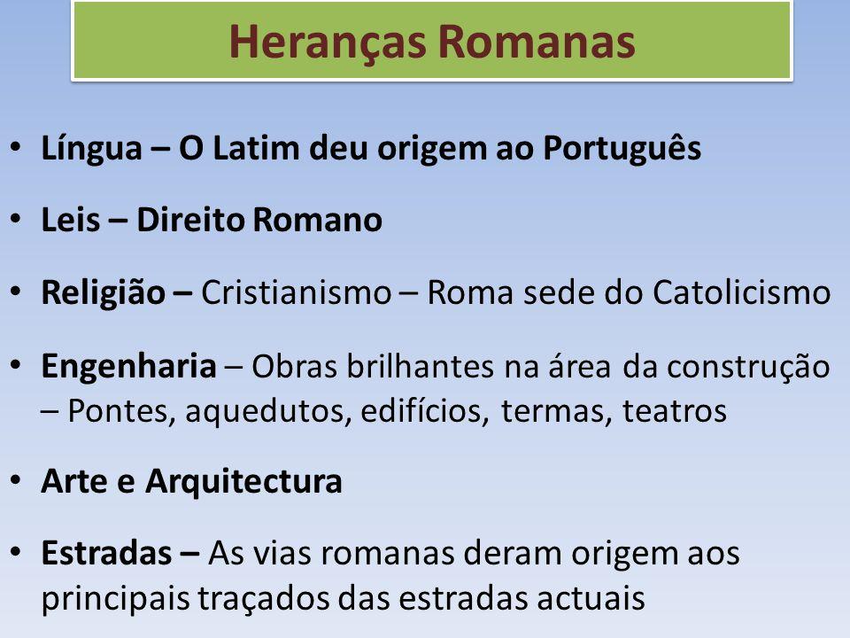 Heranças Romanas Língua – O Latim deu origem ao Português