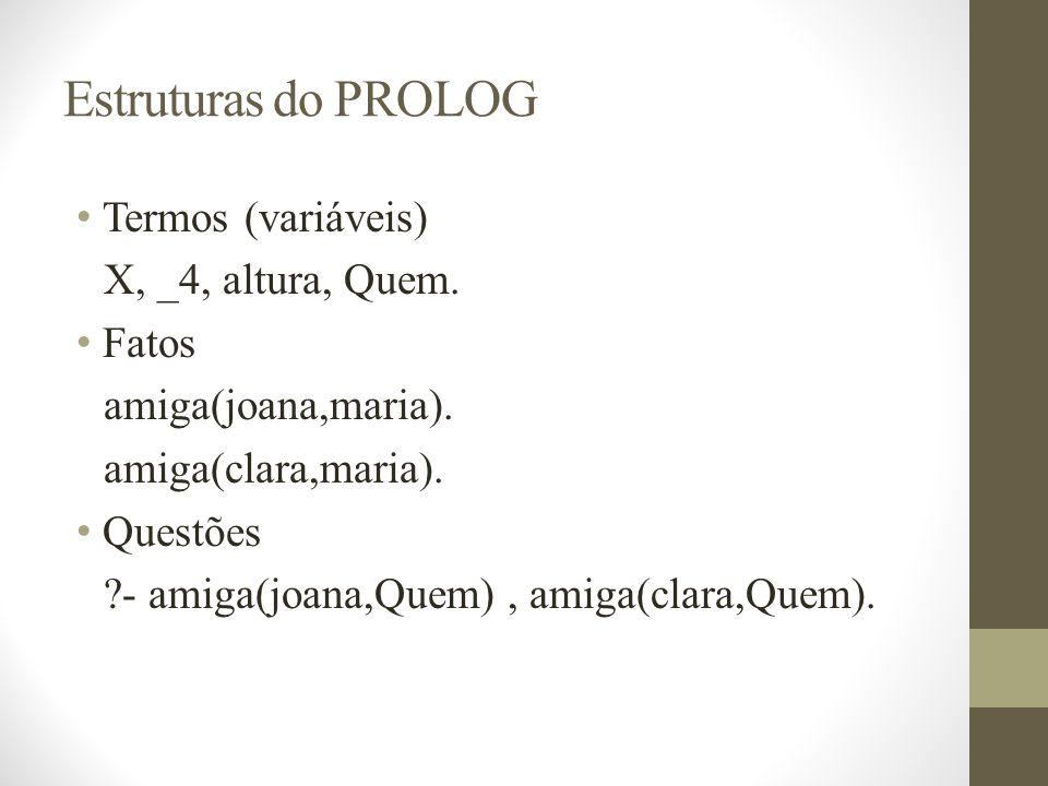 Estruturas do PROLOG Termos (variáveis) X, _4, altura, Quem. Fatos