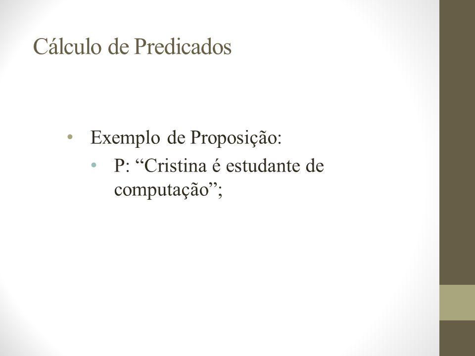 Exemplo de Proposição: P: Cristina é estudante de computação ;