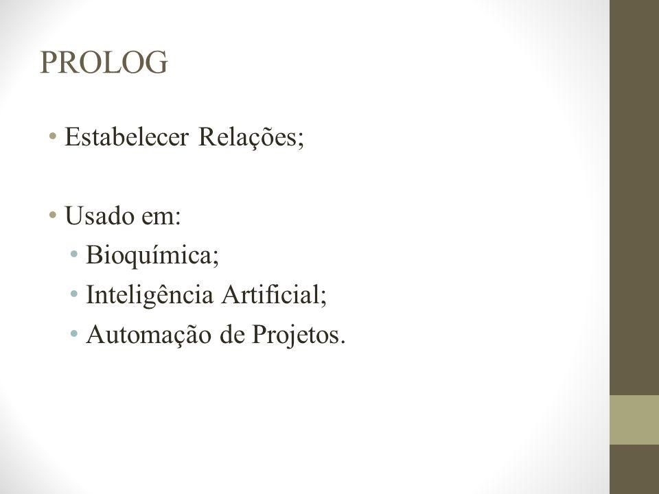 PROLOG Estabelecer Relações; Usado em: Bioquímica;