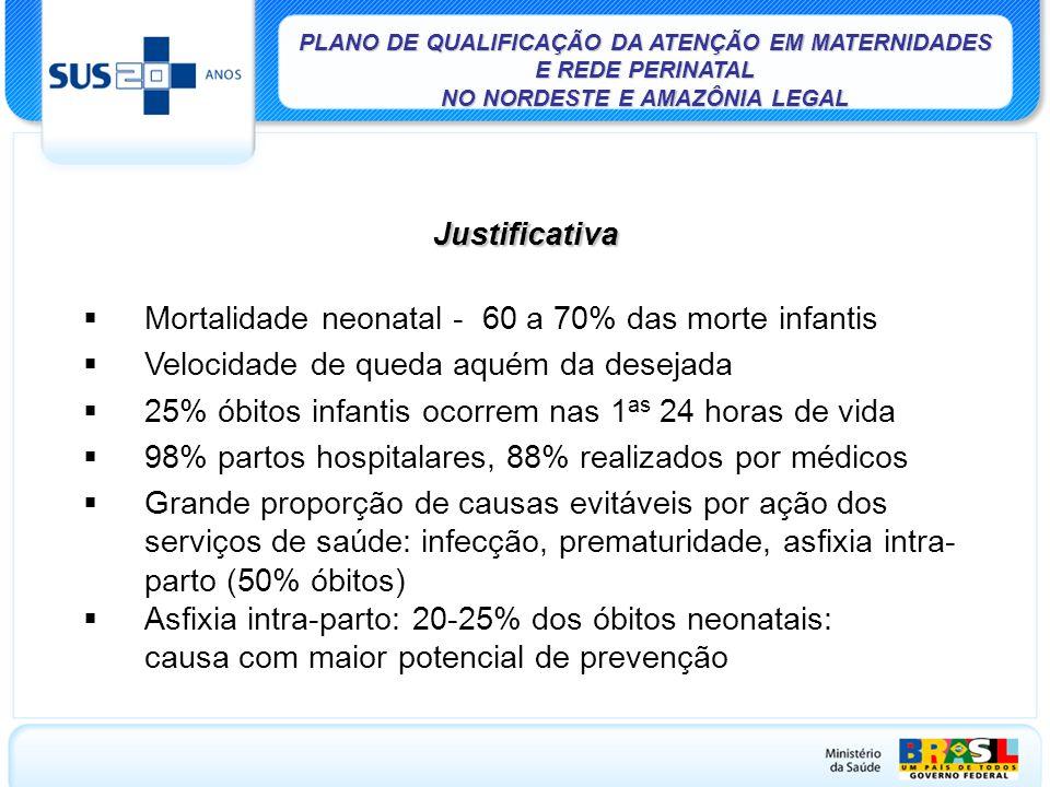 Mortalidade neonatal - 60 a 70% das morte infantis