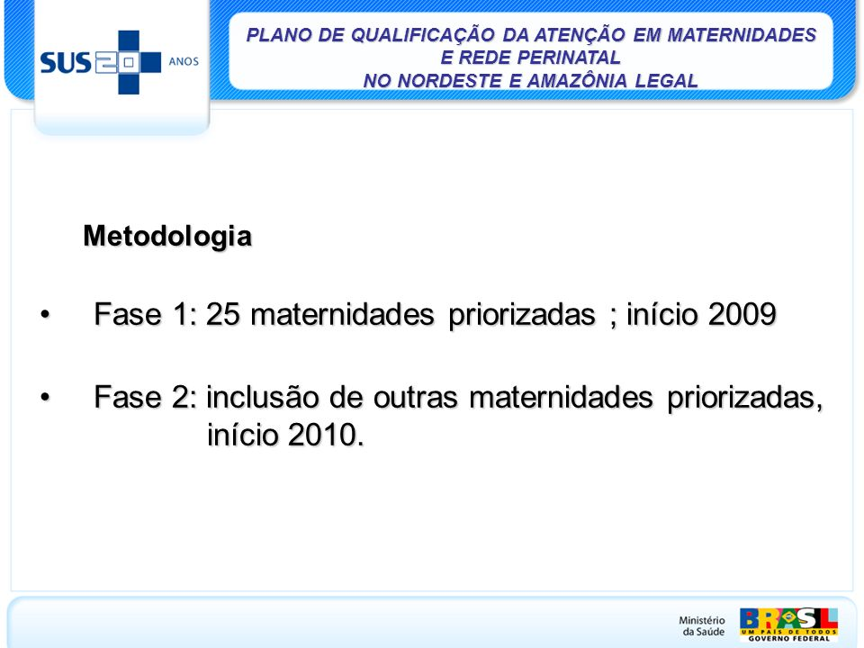 Fase 1: 25 maternidades priorizadas ; início 2009