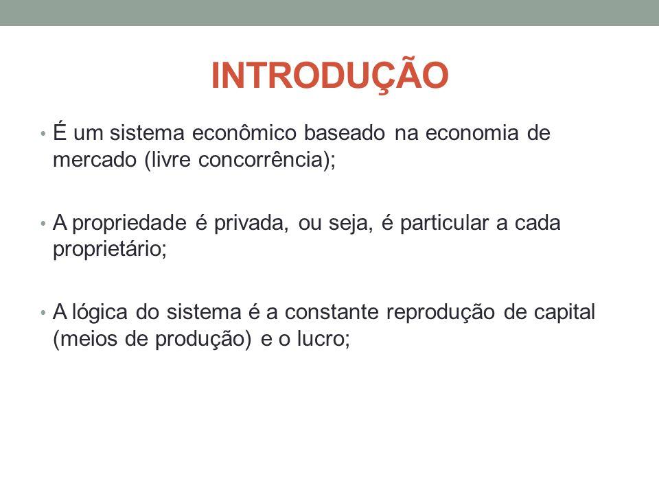 INTRODUÇÃO É um sistema econômico baseado na economia de mercado (livre concorrência);