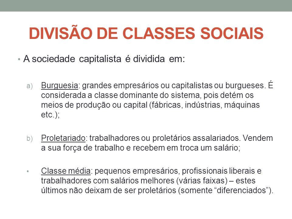DIVISÃO DE CLASSES SOCIAIS