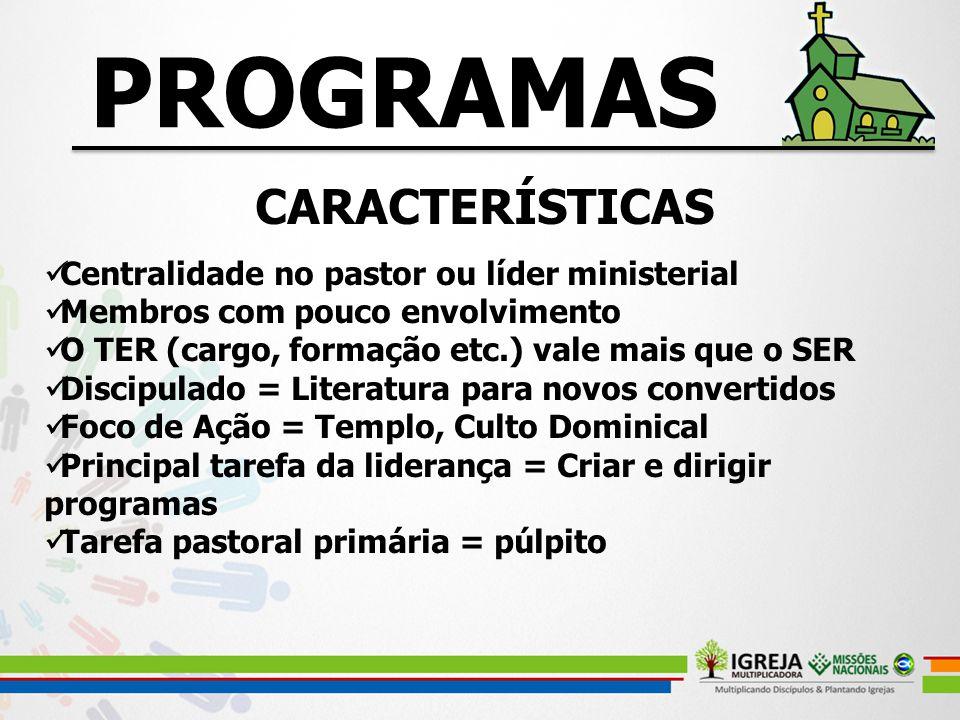 PROGRAMAS CARACTERÍSTICAS Centralidade no pastor ou líder ministerial