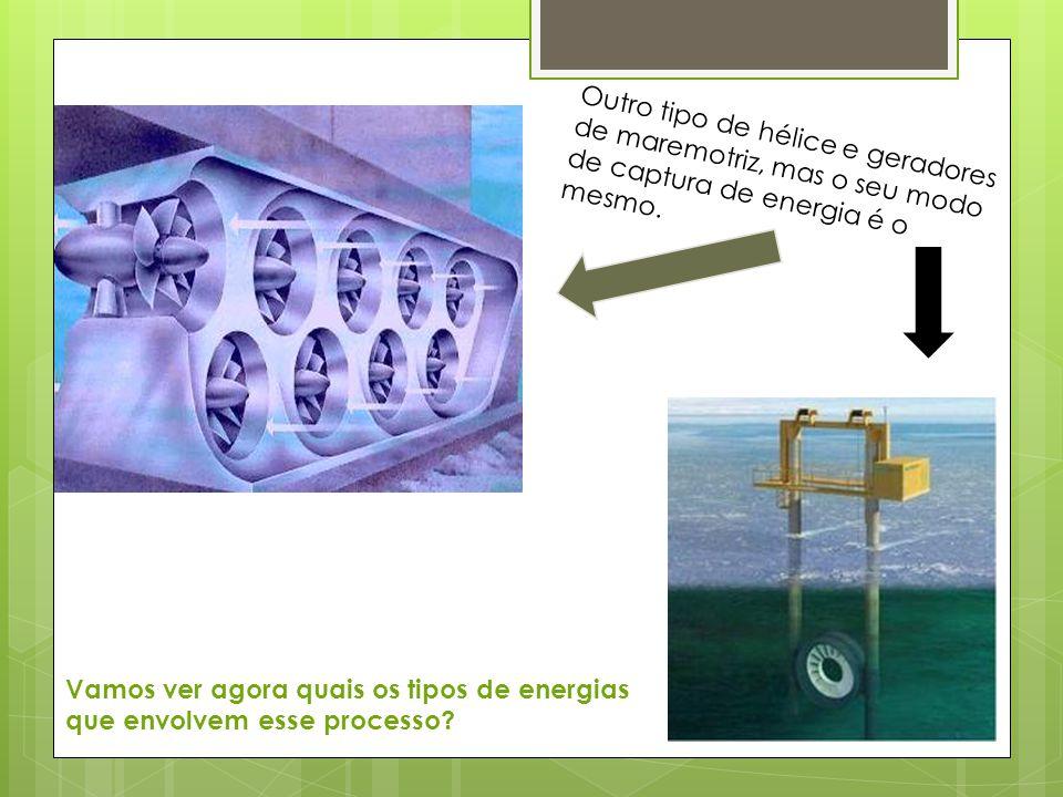 Outro tipo de hélice e geradores de maremotriz, mas o seu modo de captura de energia é o mesmo.
