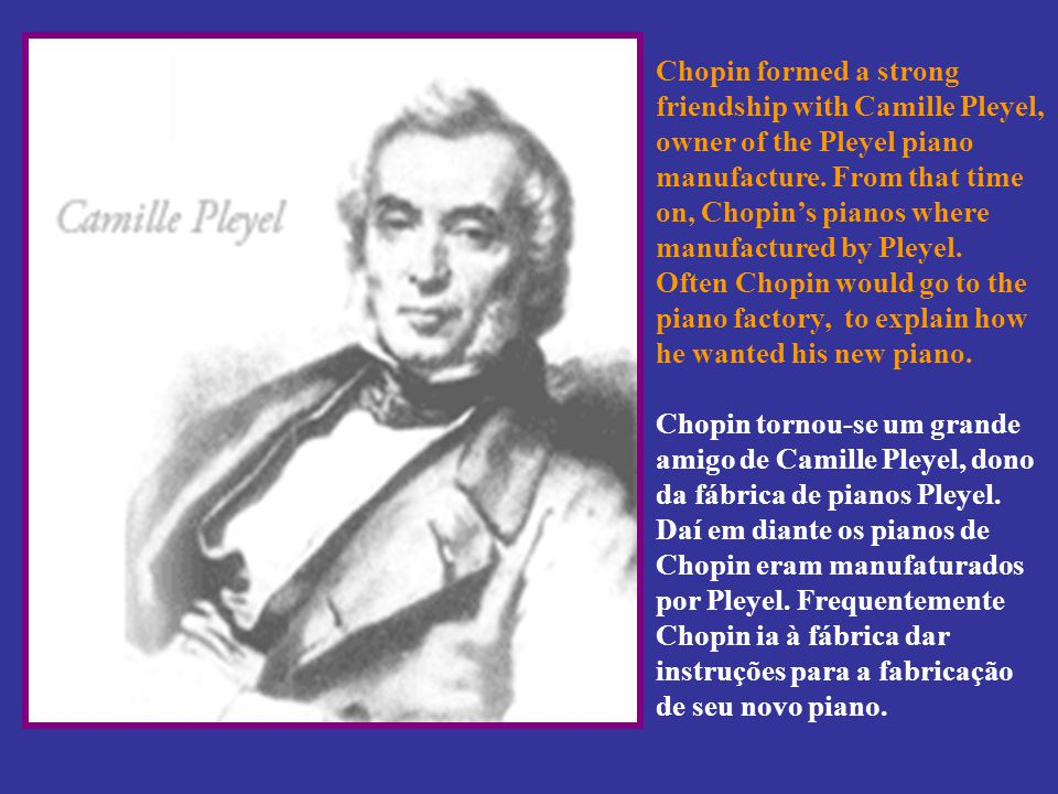 Chopin formed a strong friendship with Camille Pleyel, owner of the Pleyel piano manufacture.
