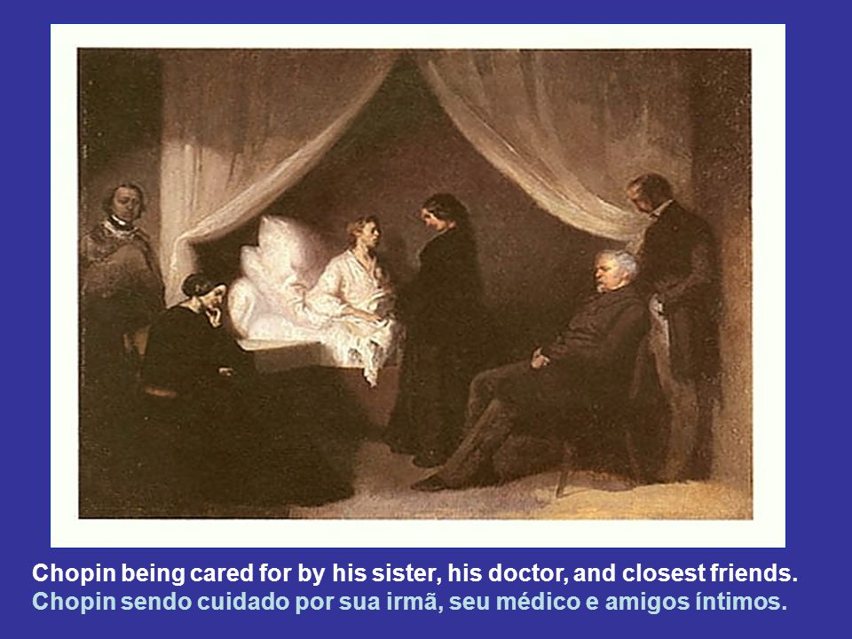Chopin being cared for by his sister, his doctor, and closest friends