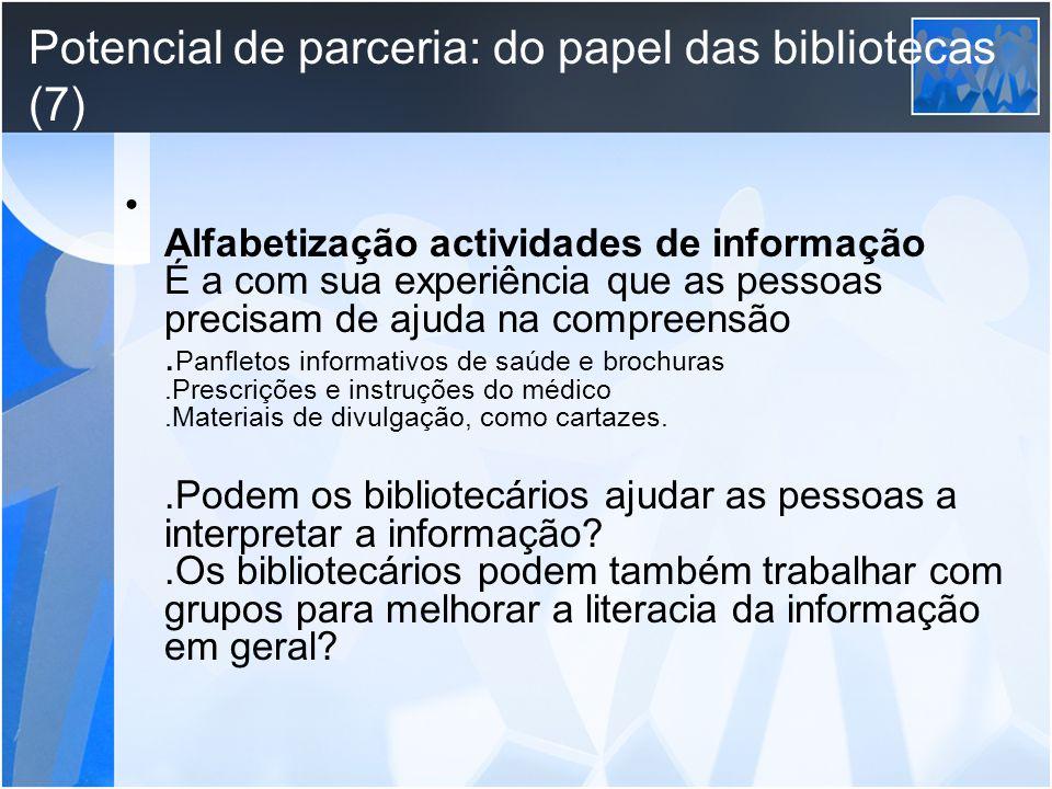 Potencial de parceria: do papel das bibliotecas (7)