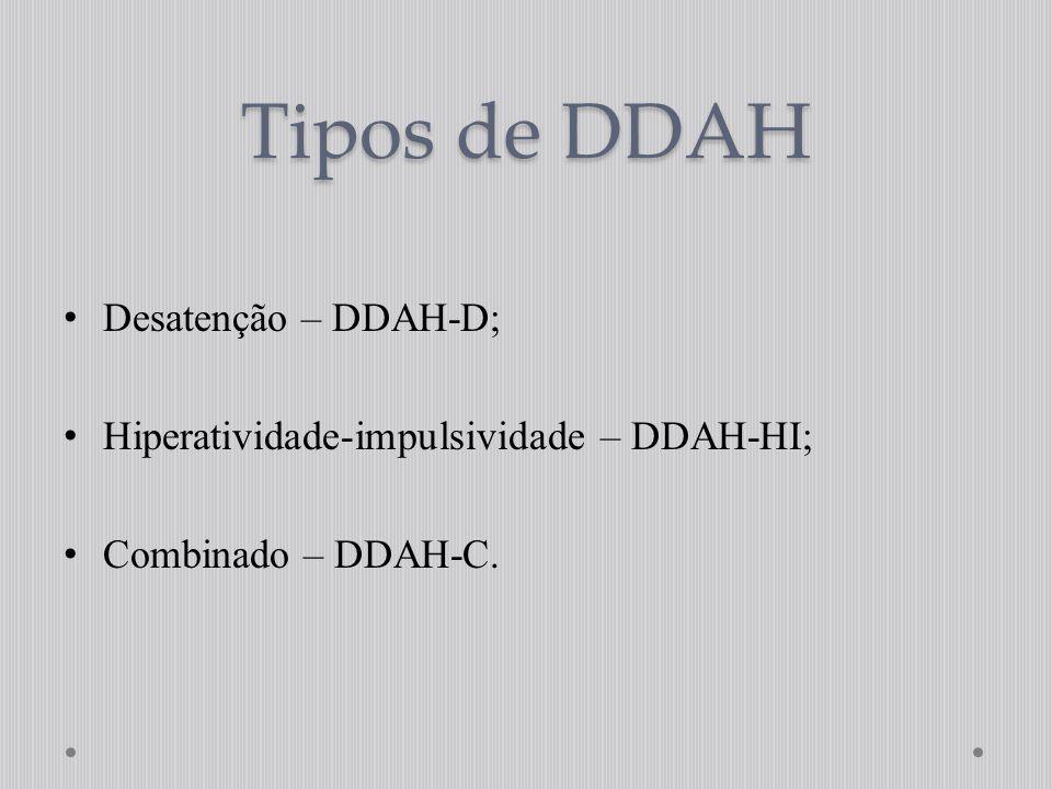 Tipos de DDAH Desatenção – DDAH-D;