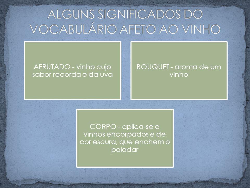 ALGUNS SIGNIFICADOS DO VOCABULÁRIO AFETO AO VINHO