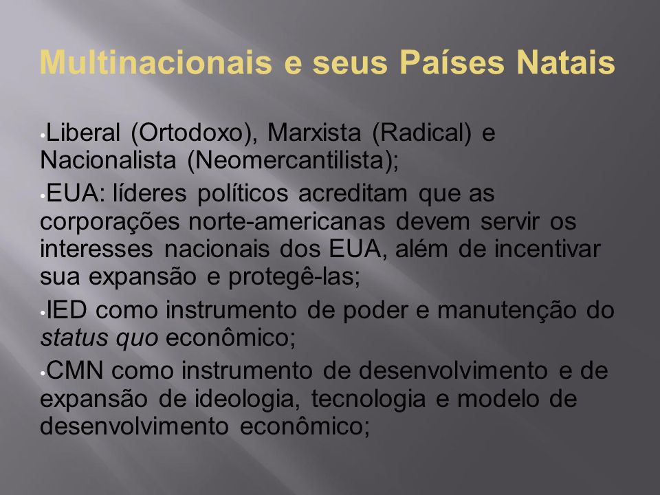 Multinacionais e seus Países Natais
