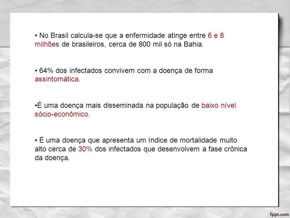 No Brasil calcula-se que a enfermidade atinge entre 6 e 8 milhões de brasileiros, cerca de 800 mil só na Bahia.