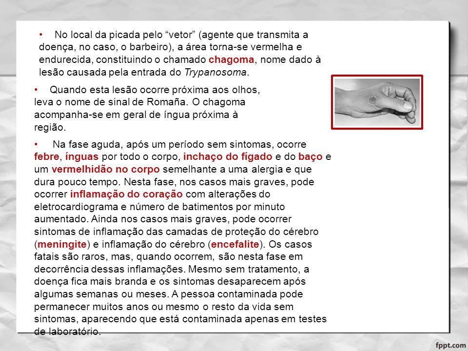 No local da picada pelo vetor (agente que transmita a doença, no caso, o barbeiro), a área torna-se vermelha e endurecida, constituindo o chamado chagoma, nome dado à lesão causada pela entrada do Trypanosoma.