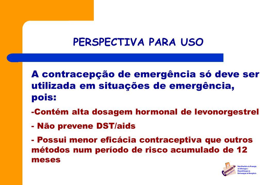 PERSPECTIVA PARA USO A contracepção de emergência só deve ser utilizada em situações de emergência, pois: