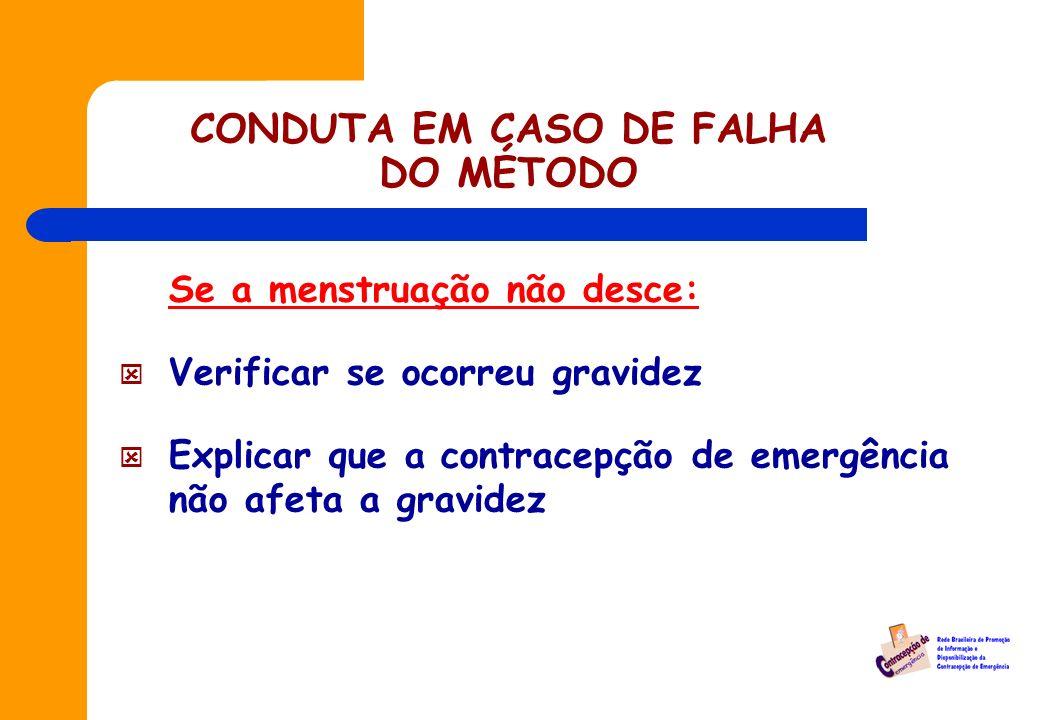 CONDUTA EM CASO DE FALHA DO MÉTODO