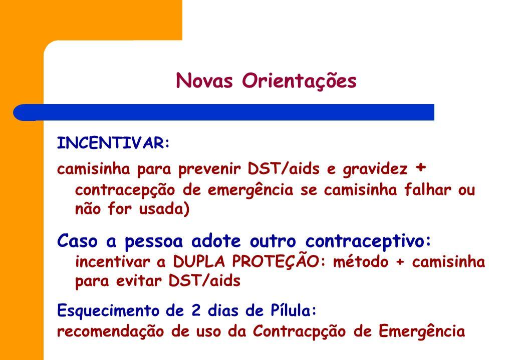 Novas OrientaçõesINCENTIVAR: camisinha para prevenir DST/aids e gravidez + contracepção de emergência se camisinha falhar ou não for usada)