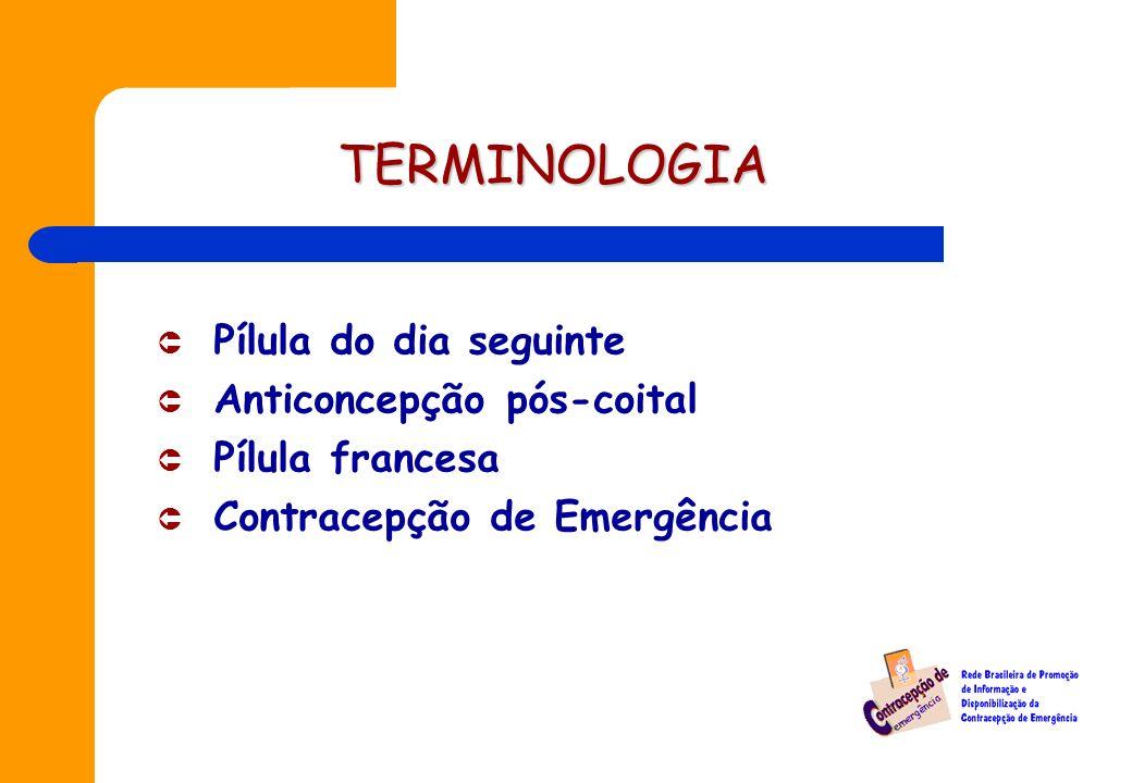 TERMINOLOGIA Pílula do dia seguinte Anticoncepção pós-coital