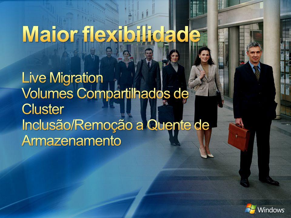 3/31/2017 1:06 PM Maior flexibilidade Live Migration Volumes Compartilhados de Cluster Inclusão/Remoção a Quente de Armazenamento.