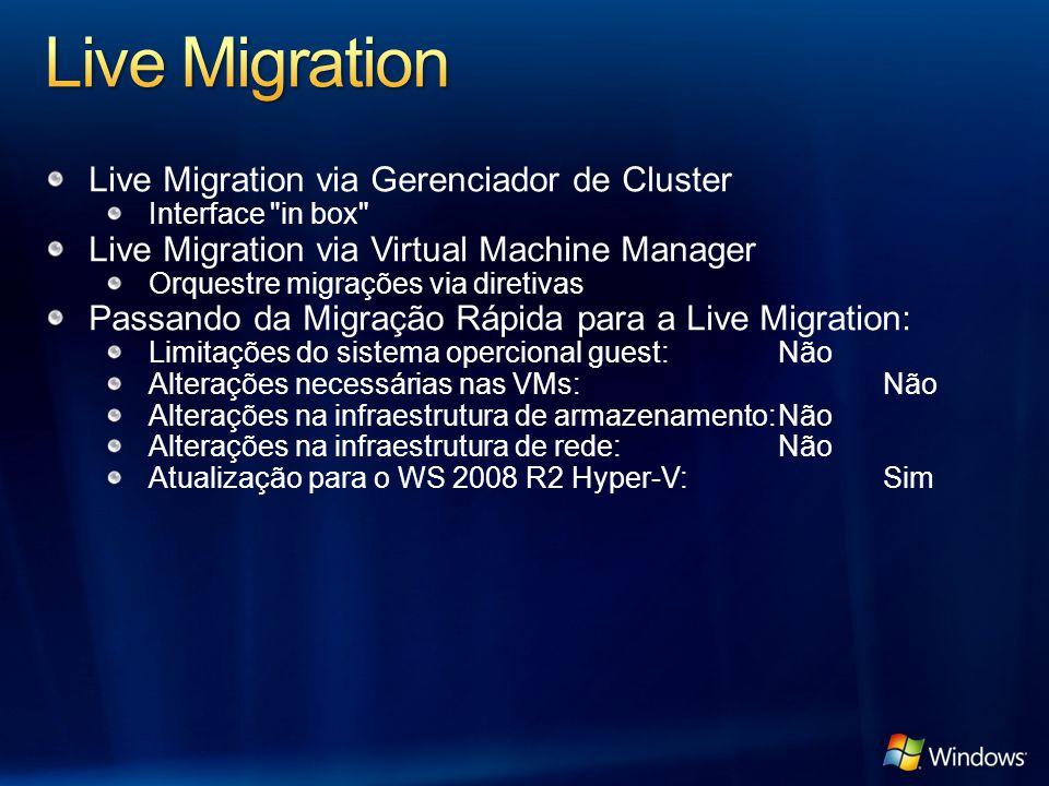Live Migration Live Migration via Gerenciador de Cluster