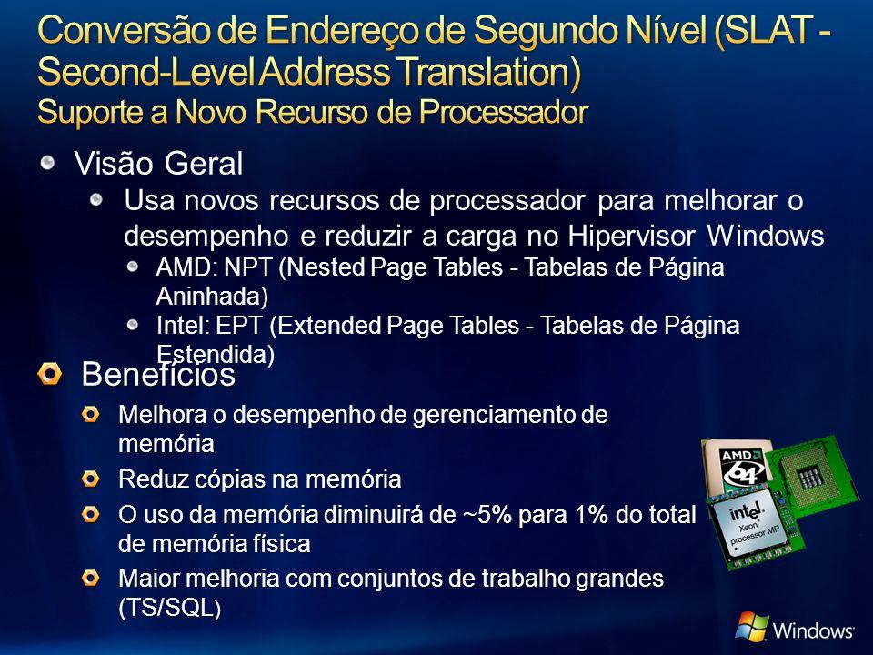 3/31/2017 1:06 PM Conversão de Endereço de Segundo Nível (SLAT - Second-Level Address Translation) Suporte a Novo Recurso de Processador.