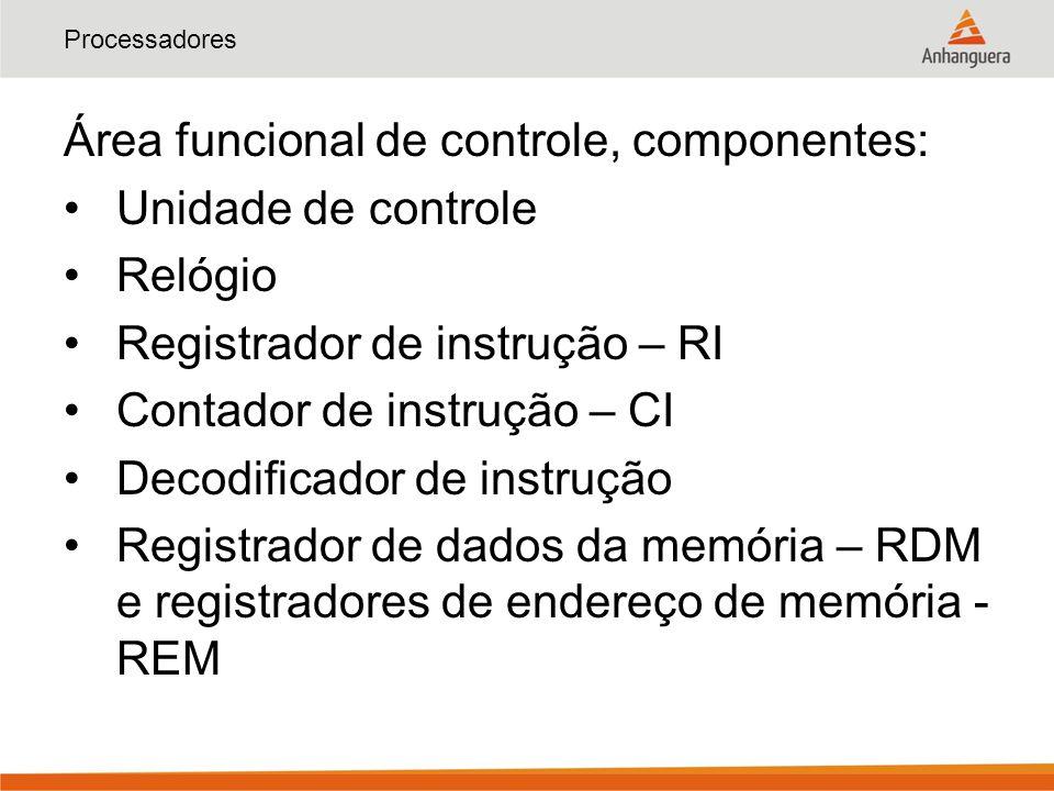 Área funcional de controle, componentes: Unidade de controle Relógio
