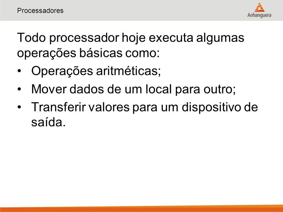 Todo processador hoje executa algumas operações básicas como: