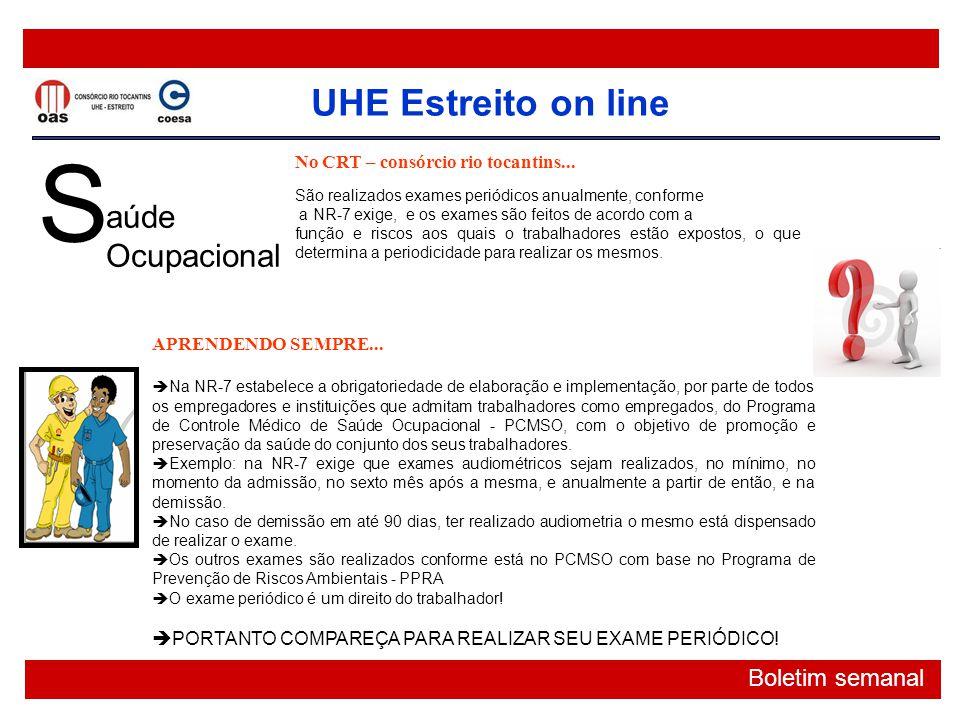 S aúde Ocupacional No CRT – consórcio rio tocantins...