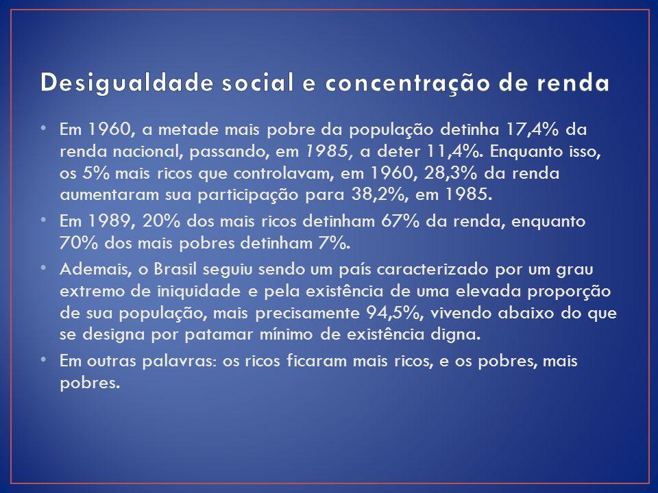 Desigualdade social e concentração de renda