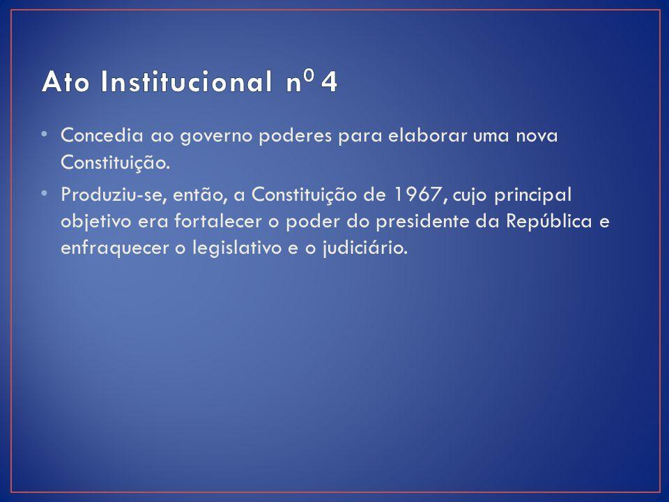 Ato Institucional n0 4 Concedia ao governo poderes para elaborar uma nova Constituição.