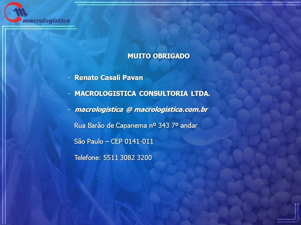MUITO OBRIGADO Renato Casali Pavan. MACROLOGISTICA CONSULTORIA LTDA. macrologística @ macrologistica.com.br.