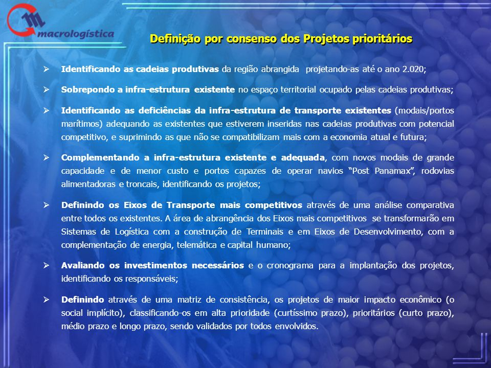 Definição por consenso dos Projetos prioritários