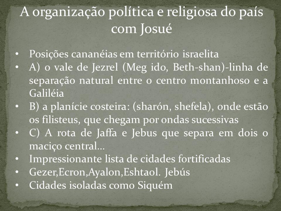 A organização política e religiosa do país com Josué