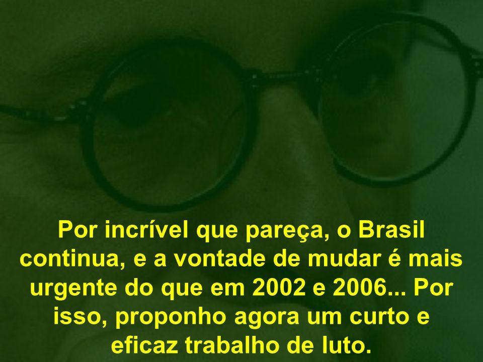 Por incrível que pareça, o Brasil continua, e a vontade de mudar é mais urgente do que em 2002 e 2006...