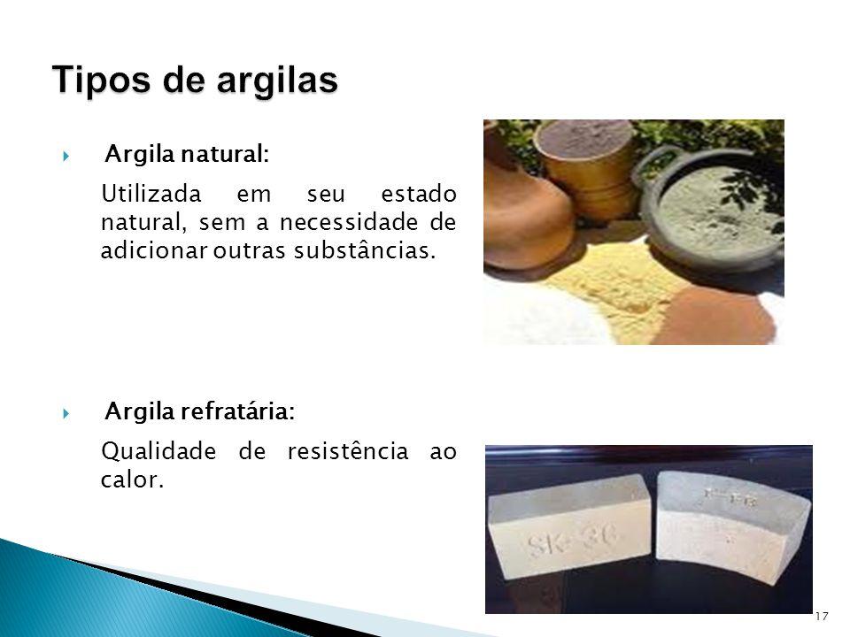 Tipos de argilas Argila natural: