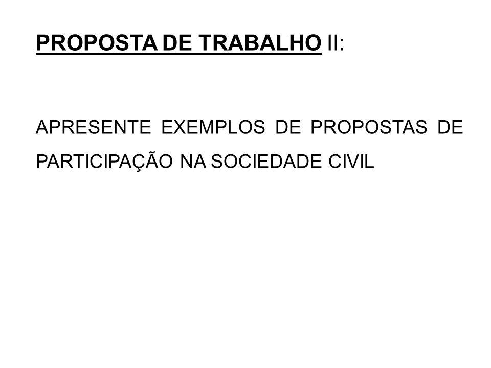 PROPOSTA DE TRABALHO II: