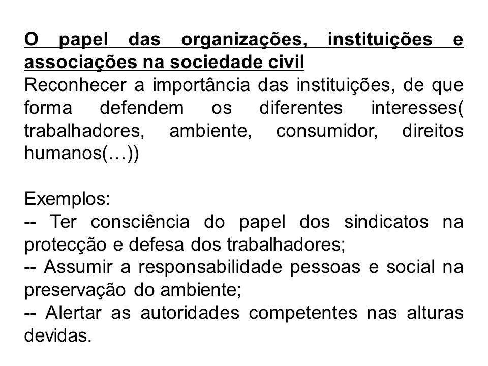 O papel das organizações, instituições e associações na sociedade civil