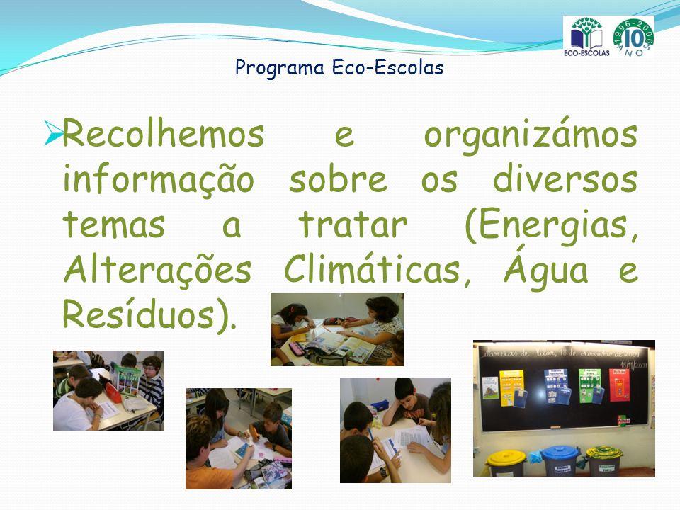 Programa Eco-Escolas Recolhemos e organizámos informação sobre os diversos temas a tratar (Energias, Alterações Climáticas, Água e Resíduos).